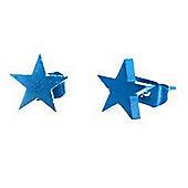 Urban Male Electric Blue Stainless Steel Star Stud Earrings 8mm