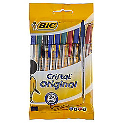 Bic Cristal Ballpoint Pens, Black, Blue, Red, & Green, 10 Pack