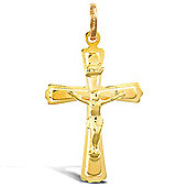 Jewelco London 9ct Yellow Gold light weight raised crucifix pendant