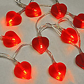 Hearts 10 LED Battery Operated String Lights in Red