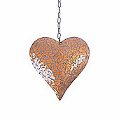 Large Copper Coloured Mosaic Mirror Heart Garden Wind Spinner / Hanger