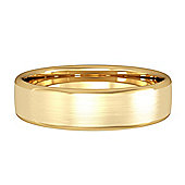 Jewelco London 18ct Yellow Gold 5mm Bombe Court Satin-Brushed Wedding Ring Finger Size R+ / 59.5