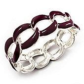 'Oval Link Chain' Lilac Enamel Hinged Bangle Bracelet (Gold Tone)
