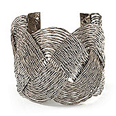 Wide Braided Cuff Bangle (Silver Tone)