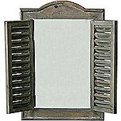 Look - Wood Window Frame Illusion Mirror - Brown / Grey
