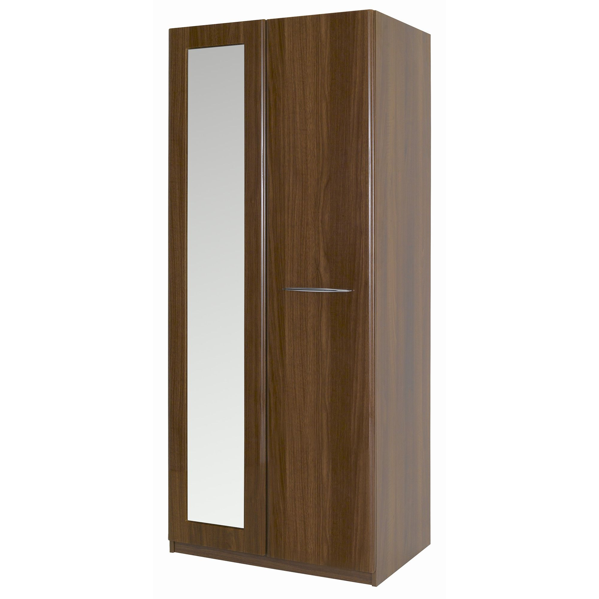 Alto Furniture Visualise Murano Wardrobe with Mirror in High Gloss Walnut at Tesco Direct