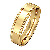 Jewelco London 9ct Yellow Gold - 5mm Essential Flat-Court Track Edge Band Commitment / Wedding Ring -