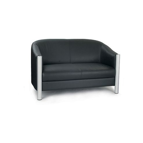 Eliza Tinsley Black Italian Leather Two Seater Tub Sofa