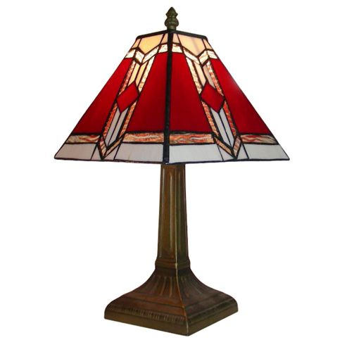 Aztec Tiffany Style Table Lamp in Antique Brass with Red Shade