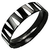 Urban Male Men's Ring In Black Stainless Steel Etched Design 6mm Band