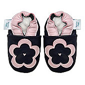 Dotty Fish Soft Leather Baby Shoe - Navy and Pink Flower - Navy