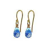 QP Jewellers 2.70ct Blue Topaz Zeal Hook Earrings in 14K Gold