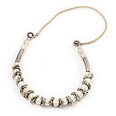 Pearl & Link White Leather Style Necklace In Silver Plated Metal - 64cm Length