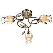 Traditional Antique Brass 3 Arm Flush Ceiling Light Fitting
