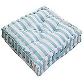 Homescapes Cotton Blue Thick Stripe Floor Cushion, 40 x 40 cm