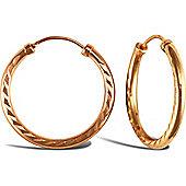 9ct Rose Gold Hoop Earrings - 20.7mm