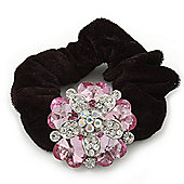 Large Layered Rhodium Plated Crystal Flower Pony Tail Black Hair Scrunchie - Light Pink/ Clear/ AB