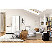 Cannes trio set - bedside, 3 drawer chest & 2 door wardrobe black & white