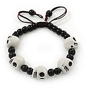 White Acrylic Skull Bead Children/Girls/ Petites Teen Friendship Bracelet On Black String - (13cm to 16cm) Adjustable