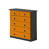 4 + 2 Chest of Drawers in Graphite and Orange