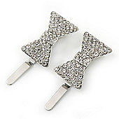 Pair Of Clear Pave Set Swarovski Crystal 'Bow' Magnetic Hair Slides In Rhodium Plating - 40mm Length