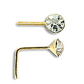 Jewelco London 9ct Yellow Gold CZ set Nose Stud