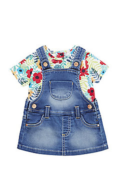 F&F Denim Pinafore and T-Shirt Set - Multi