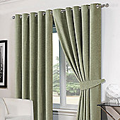 Dreamscene Green Chenille Eyelet Lined Pair Curtains with Tiebacks - Green