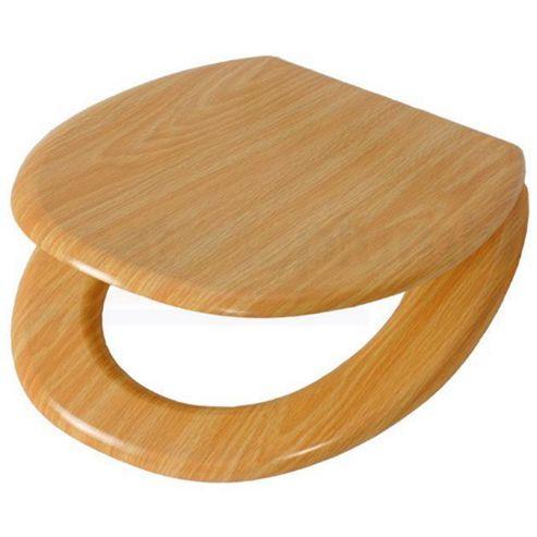 Wood Oak MDF Wood Toilet Seat with Metal Bar Hinge
