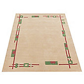 Premier Housewares Cream / Green / Pink High Tufted Rug - 120 cm x 170 cm (3 ft 9 in x 5 ft 6 in)