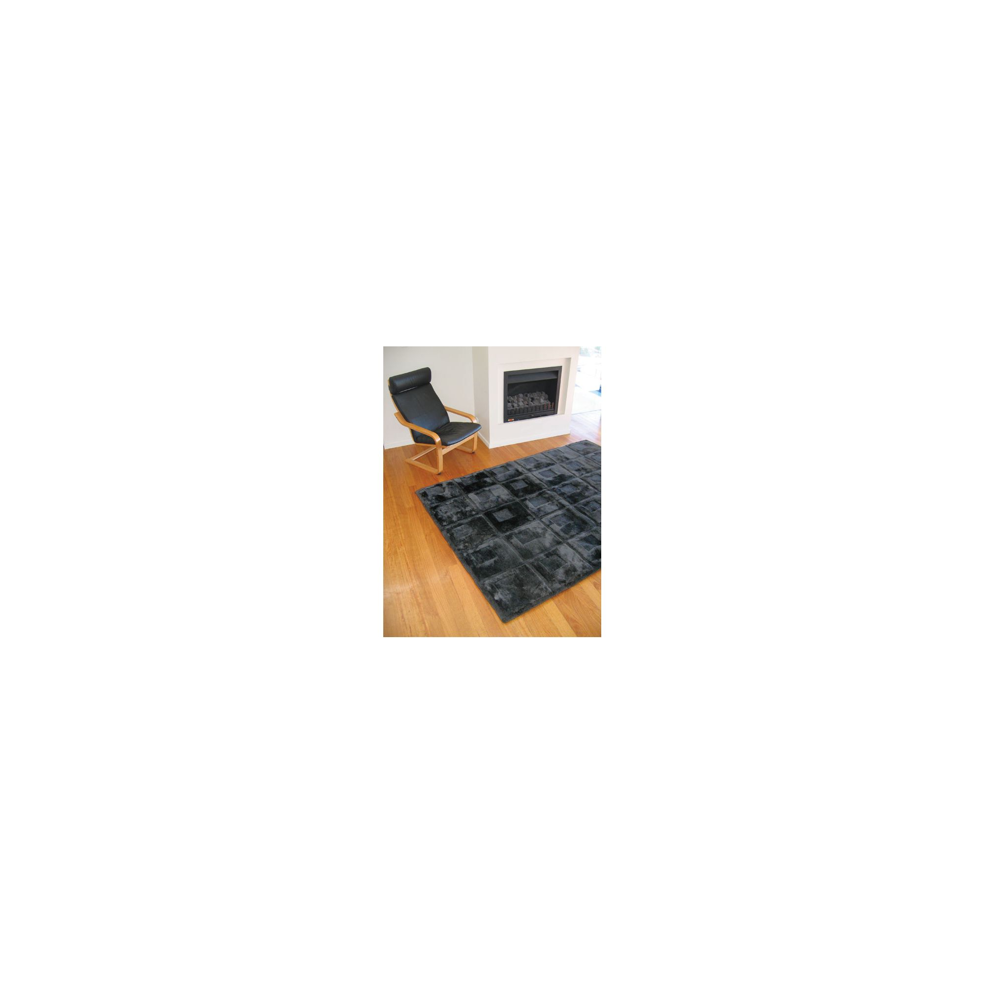 Bowron Sheepskin Shortwool Design Orbit Black Rug - 240cm H x 170cm W x 1cm D at Tesco Direct