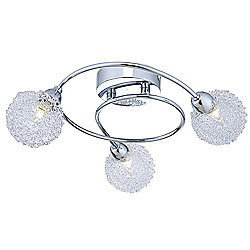 Alambre Three Way Swirl Ceiling Light in Chrome