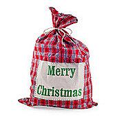 Large Tartan Fabric Christmas Sack Gift Bag with 'Merry Christmas' Text