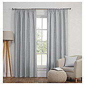 Blackout Pencil Pleat Curtains - Silver - 66 X 90