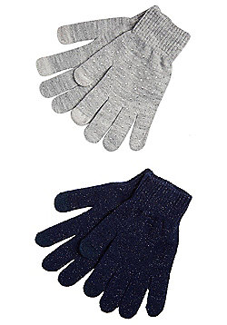 F&F 2 Pair Pack of Sparkly and Sequinned Touch Screen Gloves - Grey & Blue