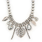 Vintage 'Heart' Charm Necklace In Silver Plating - 40cm Length/ 6cm Extension