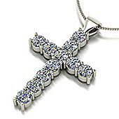 "18ct White Gold 11 Stone Moissanite Cross and 46cm (18"") Curb Chain"
