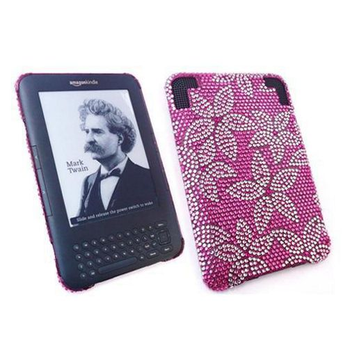 iTALKonline Screen Protector and Premium FunkGem Leaves Case Pink/Silver - For Amazon Kindle 3 3G