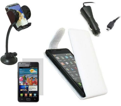iTALKonline Screen Protector, Car Charger, In Car Holder and Flip Case White - For Samsung i9100 Galaxy S II S2