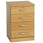 Enduro Four Drawer Wooden Pedestal - Teak