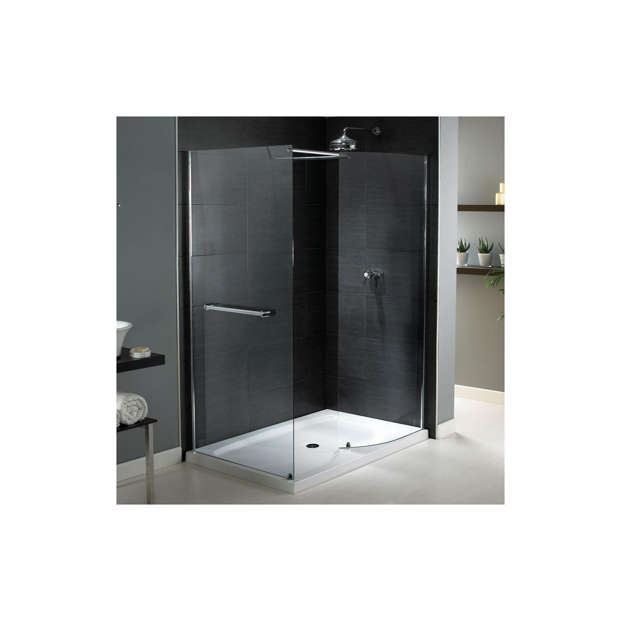 Aqualux Shine Walk-In Shower Enclosure, 1400mm x 800mm, 6mm Glass, Low Profile Tray at Tesco Direct
