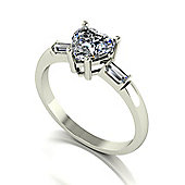18ct White Gold 6.5mm Heart Moissanite Solitaire and Baguette Set Moissanite Shoulders