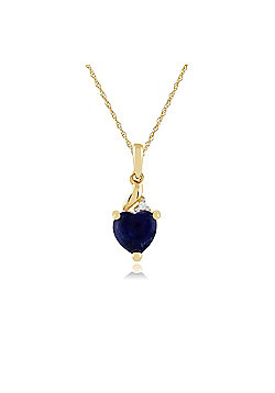 Gemondo 9ct Yellow Gold 0.33ct Lapis Lazuli & Diamond Heart Pendant on Chain
