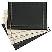 Set of 4 Faux Leather Black & Cream Reversible Placemats