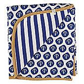 Pigeon Organics Reversible Blanket, Nautical (Blue)