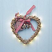 Light Up Wicker Heart Christmas Wreath