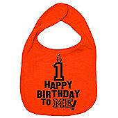 Dirty Fingers Happy 1st Birthday to me! Baby Bib Orange