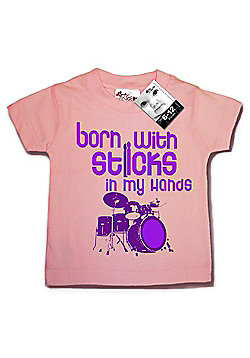 Dirty Fingers Born with Sticks in my hands Baby T-shirt - Pink