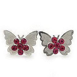 Teen Rhodium Plated Fuchsia Crystal 'Butterfly' Stud Earrings - 15mm Width
