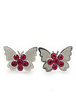 Teen Rhodium Plated Fuchsia Crystal 'Butterfly' Stud Earrings - 15mm Width